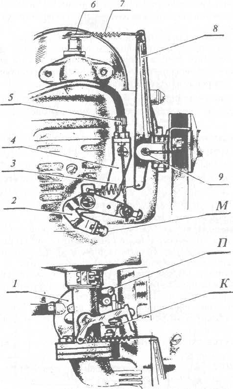 Механизм регулирования карбюратора К41К и системы центробежного регулятора мотокультиватора Крот