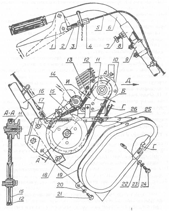 Механизм привода (сцепления) мотокультиватора Крот