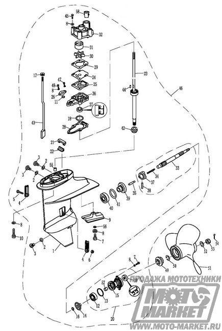 разборка редуктора лодочного мотора сельва